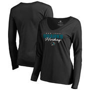 San Jose Sharks Fanatics Branded Women's Iconic Collection Script Assist Long Sleeve V-Neck T-Shirt - Black