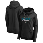 San Jose Sharks Fanatics Branded Women's Iconic Collection Script Assist Plus Size Pullover Hoodie - Black