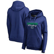 Vancouver Canucks Fanatics Branded Women's Iconic Collection Script Assist Plus Size Pullover Hoodie - Blue