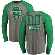 New England Patriots NFL Pro Line by Fanatics Branded Personalized Emerald Isle Long Sleeve Tri-Blend Raglan T-Shirt - Ash