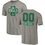 Cincinnati Bengals NFL Pro Line by Fanatics Branded Personalized Emerald Isle Tri-Blend T-Shirt - Ash