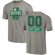 Cleveland Browns NFL Pro Line by Fanatics Branded Personalized Emerald Isle Tri-Blend T-Shirt - Ash
