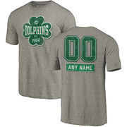 Miami Dolphins NFL Pro Line by Fanatics Branded Personalized Emerald Isle Tri-Blend T-Shirt - Ash