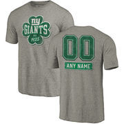 New York Giants NFL Pro Line by Fanatics Branded Personalized Emerald Isle Tri-Blend T-Shirt - Ash