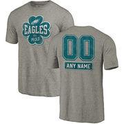 Philadelphia Eagles NFL Pro Line by Fanatics Branded Personalized Emerald Isle Tri-Blend T-Shirt - Ash
