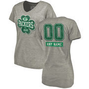 Green Bay Packers NFL Pro Line by Fanatics Branded Women's Personalized Emerald Isle Tri-Blend V-Neck T-Shirt - Ash