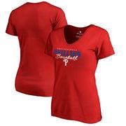 Philadelphia Phillies Fanatics Branded Women's Script Assist V-Neck T-Shirt - Red