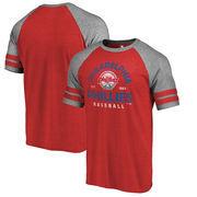 Philadelphia Phillies Fanatics Branded Cooperstown Collection Vintage Arch Tri-Blend Raglan T-Shirt - Red