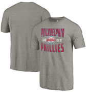 Philadelphia Phillies Fanatics Branded Cooperstown Collection Antique Stack Tri-Blend T-Shirt - Gray