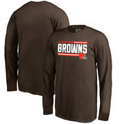Cleveland Browns NFL Pro Line by Fanatics Branded Youth Iconic Collection On Side Stripe Long Sleeve T-Shirt - Brown