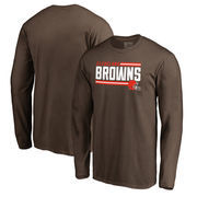 Cleveland Browns NFL Pro Line by Fanatics Branded Iconic Collection On Side Stripe Long Sleeve T-Shirt - Brown