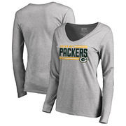 Green Bay Packers NFL Pro Line by Fanatics Branded Women's Iconic Collection On Side Stripe Long Sleeve V-Neck T-Shirt - Ash
