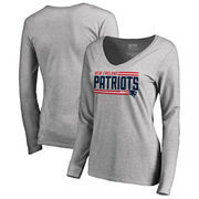 New England Patriots NFL Pro Line by Fanatics Branded Women's Iconic Collection On Side Stripe Long Sleeve V-Neck T-Shirt - Ash