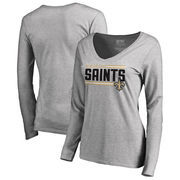 New Orleans Saints NFL Pro Line by Fanatics Branded Women's Iconic Collection On Side Stripe Long Sleeve V-Neck T-Shirt - Ash