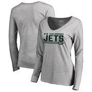 New York Jets NFL Pro Line by Fanatics Branded Women's Iconic Collection On Side Stripe Long Sleeve V-Neck T-Shirt - Ash