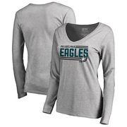 Philadelphia Eagles NFL Pro Line by Fanatics Branded Women's Iconic Collection On Side Stripe Long Sleeve V-Neck T-Shirt - Ash