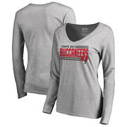 Tampa Bay Buccaneers NFL Pro Line by Fanatics Branded Women's Iconic Collection On Side Stripe Long Sleeve V-Neck T-Shirt - Ash