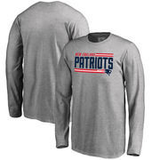 New England Patriots NFL Pro Line by Fanatics Branded Youth Iconic Collection On Side Stripe Long Sleeve T-Shirt - Ash