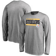 Pittsburgh Steelers NFL Pro Line by Fanatics Branded Youth Iconic Collection On Side Stripe Long Sleeve T-Shirt - Ash