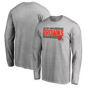 Cleveland Browns NFL Pro Line by Fanatics Branded Iconic Collection On Side Stripe Long Sleeve T-Shirt - Ash