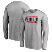 New England Patriots NFL Pro Line by Fanatics Branded Iconic Collection On Side Stripe Long Sleeve T-Shirt - Ash