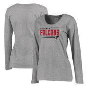 Atlanta Falcons NFL Pro Line by Fanatics Branded Women's Iconic Collection On Side Stripe Long Sleeve Plus Size T-Shirt - Ash