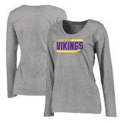 Minnesota Vikings NFL Pro Line by Fanatics Branded Women's Iconic Collection On Side Stripe Long Sleeve Plus Size T-Shirt - Ash