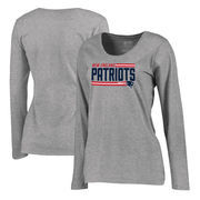 New England Patriots NFL Pro Line by Fanatics Branded Women's Iconic Collection On Side Stripe Long Sleeve Plus Size T-Shirt - A