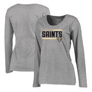 New Orleans Saints NFL Pro Line by Fanatics Branded Women's Iconic Collection On Side Stripe Long Sleeve Plus Size T-Shirt - Ash