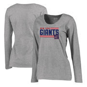 New York Giants NFL Pro Line by Fanatics Branded Women's Iconic Collection On Side Stripe Long Sleeve Plus Size T-Shirt - Ash