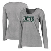 New York Jets NFL Pro Line by Fanatics Branded Women's Iconic Collection On Side Stripe Long Sleeve Plus Size T-Shirt - Ash