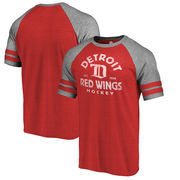 Detroit Red Wings Fanatics Branded Timeless Collection Vintage Arch Tri-Blend Raglan T-Shirt - Red