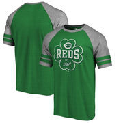 Cincinnati Reds Fanatics Branded St. Patrick's Day Emerald Isle Refresh Raglan T-Shirt - Kelly Green