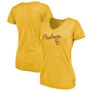 San Diego Padres Fanatics Branded Women's Rising Script Tri-Blend V-Neck T-Shirt - Gold
