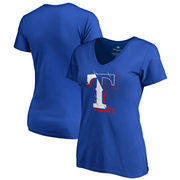 Texas Rangers Fanatics Branded Women's X-Ray V-Neck T-Shirt - Royal