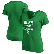 San Diego Padres Fanatics Branded Women's Irish It Was Gameday V-Neck T-Shirt - Kelly Green