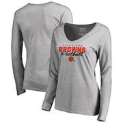 Cleveland Browns NFL Pro Line by Fanatics Branded Women's Iconic Collection Script Assist Long Sleeve V-Neck T-Shirt - Ash