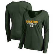 Green Bay Packers NFL Pro Line by Fanatics Branded Women's Iconic Collection Script Assist Long Sleeve V-Neck T-Shirt - Green