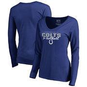 Indianapolis Colts NFL Pro Line by Fanatics Branded Women's Iconic Collection Script Assist Long Sleeve V-Neck T-Shirt - Royal