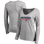 New England Patriots NFL Pro Line by Fanatics Branded Women's Iconic Collection Script Assist Long Sleeve V-Neck T-Shirt - Ash