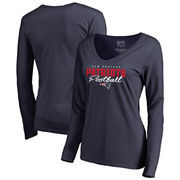 New England Patriots NFL Pro Line by Fanatics Branded Women's Iconic Collection Script Assist Long Sleeve V-Neck T-Shirt - Navy