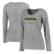 Green Bay Packers NFL Pro Line by Fanatics Branded Women's Iconic Collection Script Assist Plus Size Long Sleeve T-Shirt - Ash