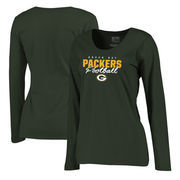 Green Bay Packers NFL Pro Line by Fanatics Branded Women's Iconic Collection Script Assist Plus Size Long Sleeve T-Shirt - Green