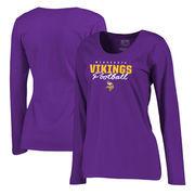 Minnesota Vikings NFL Pro Line by Fanatics Branded Women's Iconic Collection Script Assist Plus Size Long Sleeve T-Shirt - Purpl