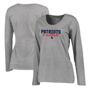 New England Patriots NFL Pro Line by Fanatics Branded Women's Iconic Collection Script Assist Plus Size Long Sleeve T-Shirt - As