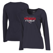 New England Patriots NFL Pro Line by Fanatics Branded Women's Iconic Collection Script Assist Plus Size Long Sleeve T-Shirt - Na