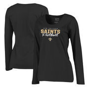 New Orleans Saints NFL Pro Line by Fanatics Branded Women's Iconic Collection Script Assist Plus Size Long Sleeve T-Shirt - Blac