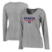New York Giants NFL Pro Line by Fanatics Branded Women's Iconic Collection Script Assist Plus Size Long Sleeve T-Shirt - Ash