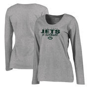New York Jets NFL Pro Line by Fanatics Branded Women's Iconic Collection Script Assist Plus Size Long Sleeve T-Shirt - Ash