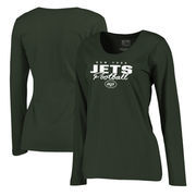 New York Jets NFL Pro Line by Fanatics Branded Women's Iconic Collection Script Assist Plus Size Long Sleeve T-Shirt - Green